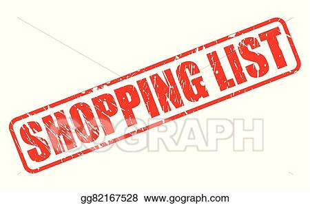 shopping list red stamp text