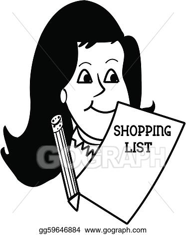 eps illustration woman with shopping list and pencil sketch vector clipart gg59646884