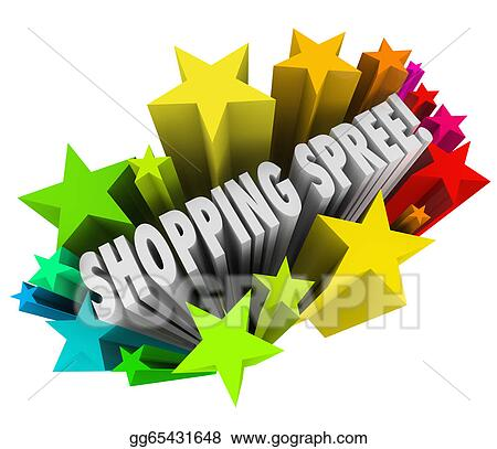 stock illustration shopping spree words stars winner sweepstakes rh gograph com winter clip art black and white winter clip art free images