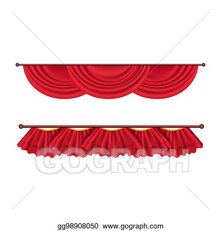 Vector Illustration Short Ceiling Red Curtains Set