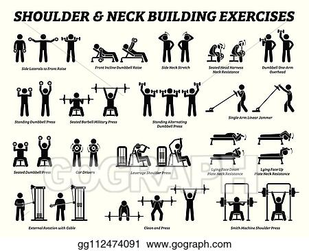 Clip Art Vector Shoulder And Neck Building Exercise And Muscle Building Stick Figure Pictograms Stock Eps Gg112474091 Gograph