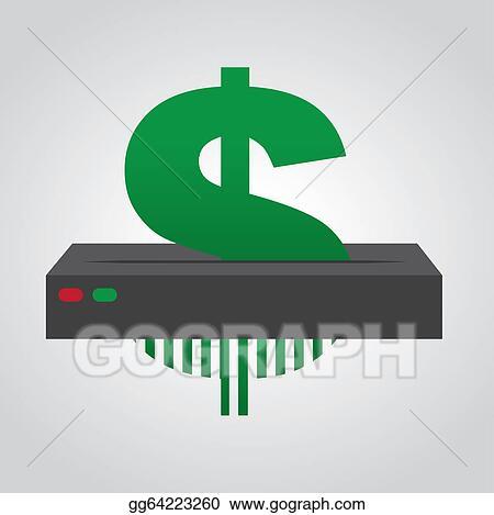 EPS Illustration - Shredding dollar sign   Vector Clipart