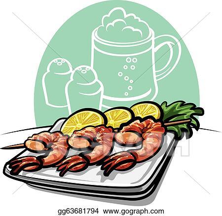 vector illustration shrimp grilled stock clip art gg63681794 rh gograph com Halibut Clip Art Culture Clip Art Salad