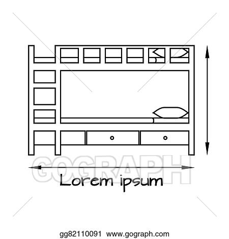 Side View Flat Illustration Of Bunk Bed
