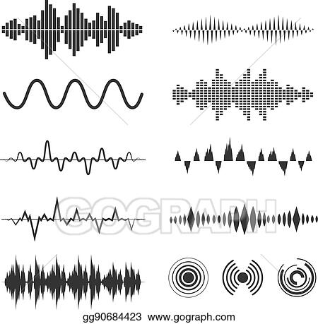 Signal Wave Set Vector Analog Signals And Digital Sound Waves Forms