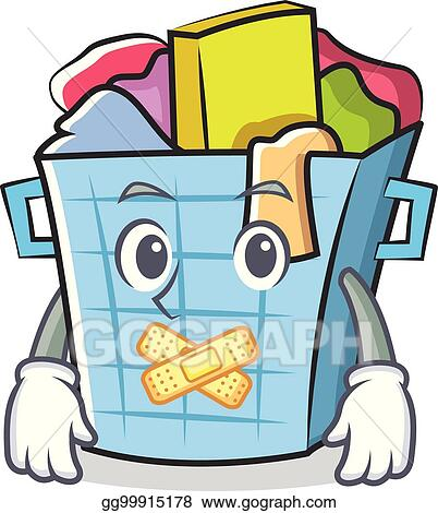 vector illustration silent laundry basket character cartoon stock rh gograph com laundry basket clipart black and white laundry basket clipart free