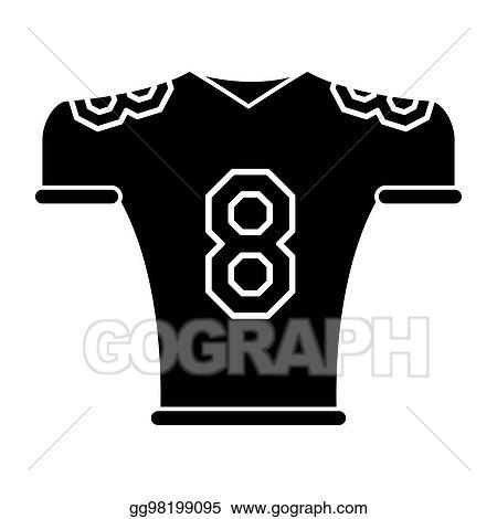 4ac0248fc Vector Illustration - Silhouette american football jersey uniform ...