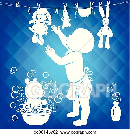 Vector Art Silhouette Baby Wipes Toys Eps Clipart Gg98145702
