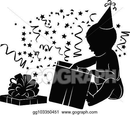 Vector Illustration Silhouette Baby With Gift Box Birthday 1 Year Stock Clip Art Gg103350451 Gograph