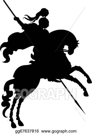 EPS Vector - Silhouette champion knight on hors   Stock