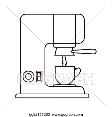 Eps Illustration Silhouette Coffee Maker With Porcelain Cup