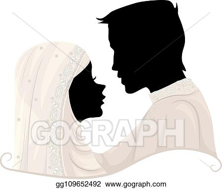 Vector Stock Silhouette Couple Muslim Wedding Illustration Stock Clip Art Gg109652492 Gograph