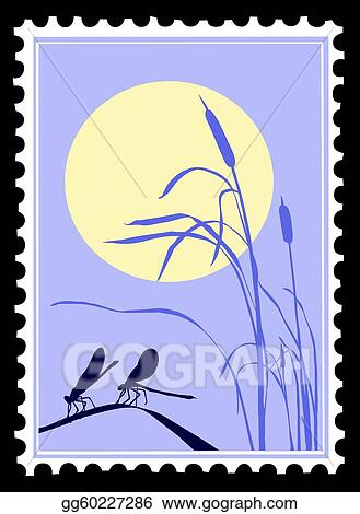 clip art silhouette dragonfly on postage stamps stock