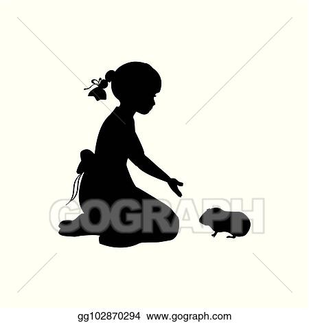 Vector Illustration Silhouette Girl Sitting Knees Beckon Guinea Pig Eps Clipart Gg102870294 Gograph