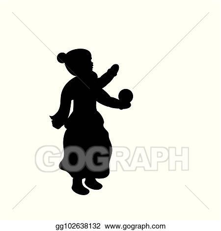 Eps Illustration Silhouette Girl Winter Girl Throws Snow Vector Clipart Gg102638132 Gograph