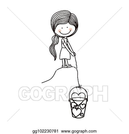 Vector Stock Silhouette Girl With Fishing Bucket And Shape Hearts Clipart Illustration Gg102230781 Gograph