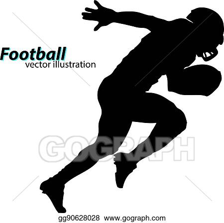 Vector Clipart Silhouette Of A Football Player Rugby American