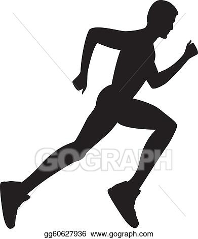 Vector Art Silhouette Of A Healthy Man Running Eps Clipart