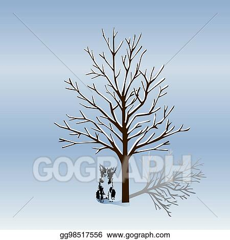 Silhouette Of A Tree Without Leaves In Winter And Dog At Night The Cartoon On White Background