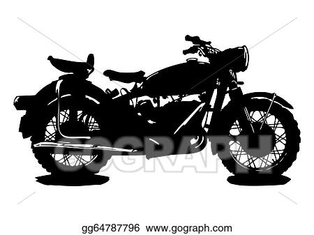 Drawing Silhouette Of An Old Motorcycle Clipart Drawing