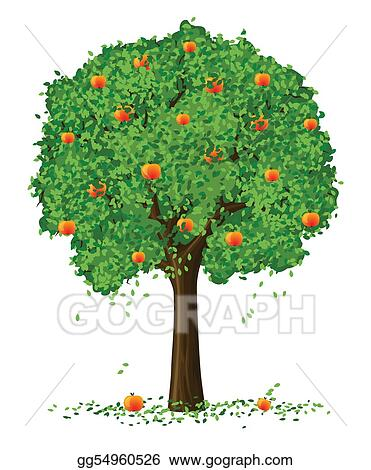 drawing silhouette of apple tree with fruits cron isolated on the white background clipart drawing gg54960526