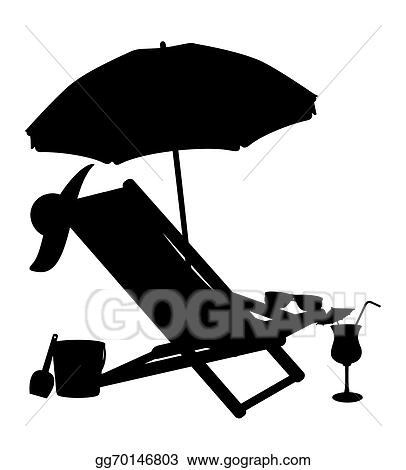 Silhouette Of Beach Chairs And Umbrellas Vector Ilration