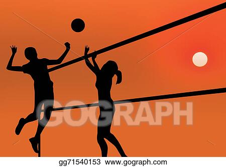 Four girls playing volleyball on the beach. Beach volleyball, net, women in  bikinis. Flat cartoon vector illustration. Girl in a red bathing suit  jumping for the ball Clipart   k38233870   Fotosearch