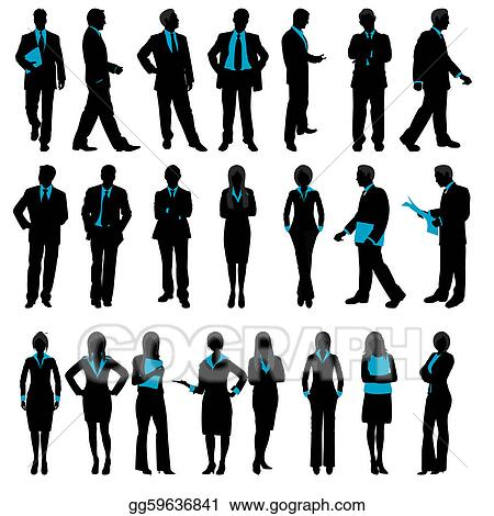 vector art silhouette of business people clipart drawing rh gograph com Funny Business People Clip Art People Clip Art