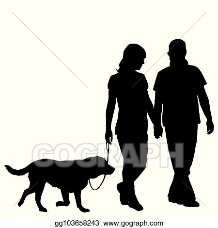 eps illustration silhouette of couple taking dog for walk vector clipart gg103658243 gograph https www gograph com clipart license summary gg103658243