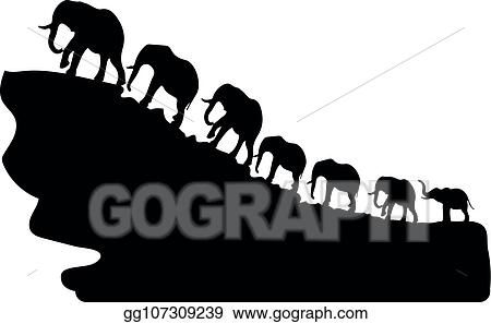 Vector Stock - Silhouette of elephants walking up a mountain, a
