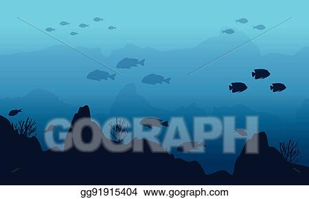 vector stock silhouette of fish and cliff on underwater stock