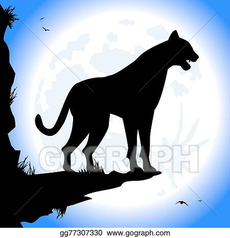 vector art silhouette of panther eps clipart gg77307330 gograph