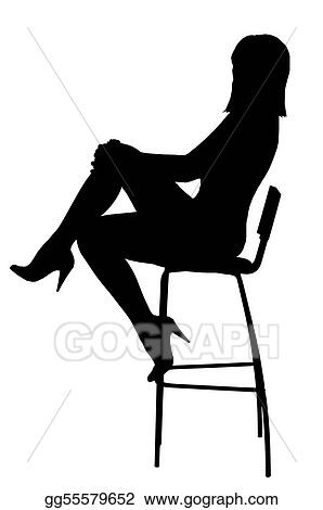 clip art silhouette of the sexual girl sitting on a high bar chair isolated on white background stock illustration gg55579652
