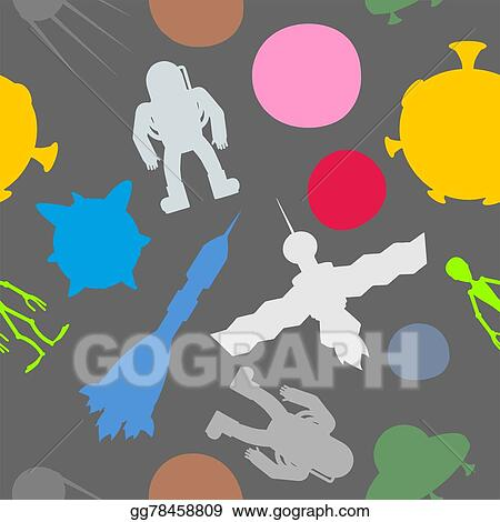 vector stock silhouette space symbol seamless pattern astronaut