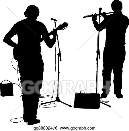 vector clipart silhouettes musicians plays the gui vector