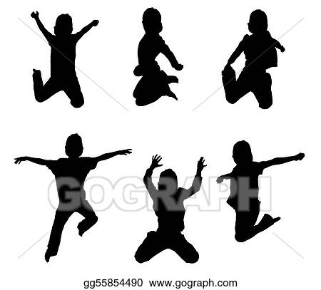 Silhouettes Of Boy Jumping Up In The Air