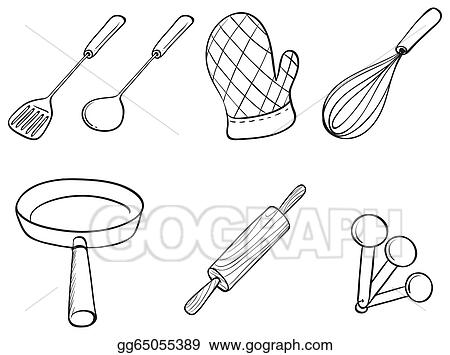 Vector Art Silhouettes Of Kitchen Utensils Clipart Drawing