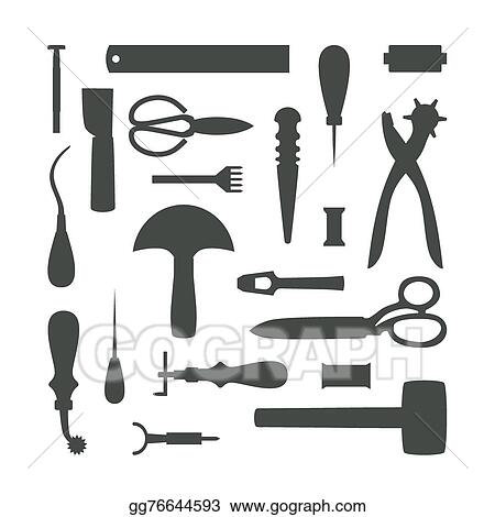 vector art silhouettes of leather craft tools vector illustration