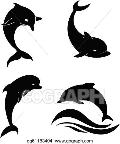 vector illustration silhouettes of the dolphins eps clipart