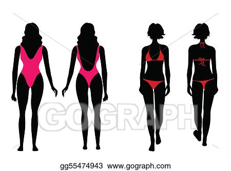 Eps Illustration Silhouettes Of Women In Bathing Suit Vector