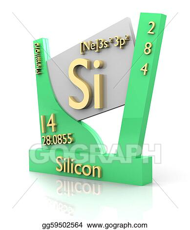 Stock Illustration - Silicon form periodic table of elements - v2 ...