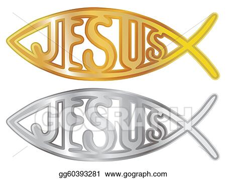 Stock Illustration Silver And Gold Christian Fish Symbol