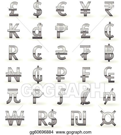 Eps Vector Silver Currency Symbols Stock Clipart Illustration