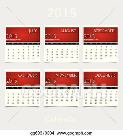 Vector Illustration Simple 2015 Year Calendar July August