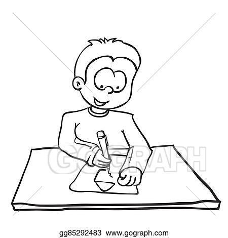 Eps Vector Simple Black Nad White Little Boy Drawing A House Stock Clipart Illustration Gg85292483 Gograph