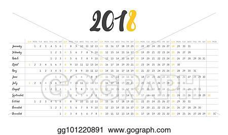 simple calendar 2018 week starts on sunday