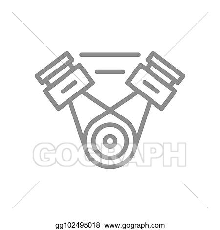 Vector Art Simple Car Engine Motor Line Icon Symbol And Sign