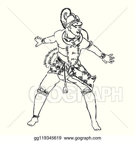 Clip Art Vector Simple Hand Draw Sketch Vector Of Angry Dancing Hanoman Or Anumat God Big White Monkey From Indonesia And India Tale Stock Eps Gg119345619 Gograph
