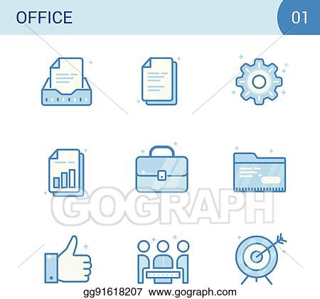 Vector Art - Simple modern set of business blue color line icons