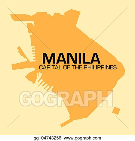 Clip Art Vector Simple Outline Map Of Philippines Capital Manila